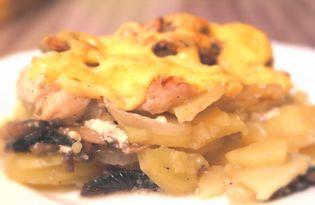 Картофель с курицей и грибами в духовке (пошаговый фото рецепт)