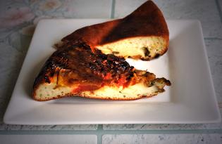 Дрожжевой наливной пирог из тыквы и помидоров (пошаговый фото рецепт)
