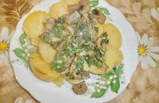 Молодой картофель с грибами в сметанном соусе (пошаговый фото рецепт)