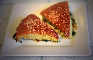 Наливной пирог с капустой и черемшой (пошаговый фото рецепт)