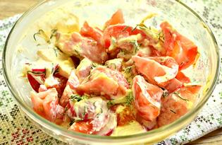 Салат с помидором, редисом и зеленью (пошаговый фото рецепт)
