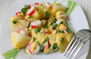 Запеченный молодой картофель с крабовыми палочками (пошаговый фото рецепт)