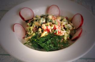 Салат с помидорами, брынзой и черемшой (пошаговый фото рецепт)