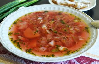 Красный борщ без мяса (пошаговый фото рецепт)