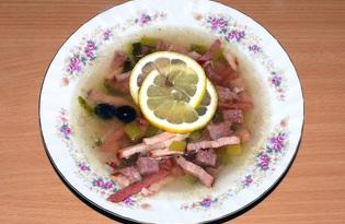 Солянка сборная мясная с копчёностями (пошаговый фото рецепт)