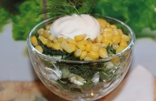 Салат с кукурузой, щавелем, огурцом (пошаговый фото рецепт)