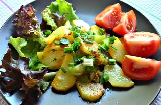 Картофель, жаренный с кабачками и свежей зеленью (пошаговый фото рецепт)