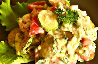 Овощной салат с кабачком и яйцом (пошаговый фото рецепт)