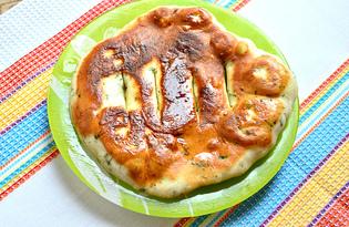 Лепешка с зеленью на сковороде (пошаговый фото рецепт)