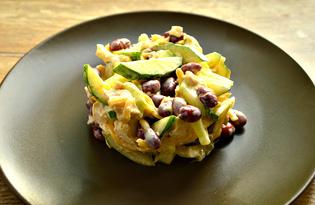 Салат с курицей, фасолью и огурцами (пошаговый фото рецепт)