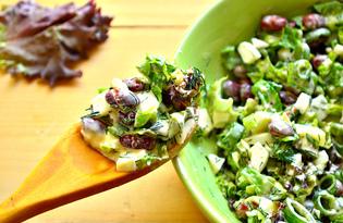 Салат с фасолью, зеленью и яйцом (пошаговый фото рецепт)