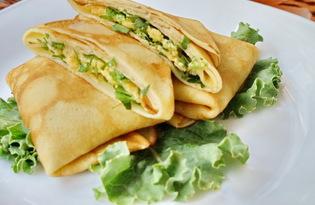 Блинчики с начинкой из сыра и зелени (пошаговый фото рецепт)