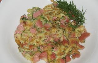 Омлет с колбасой на сковороде (пошаговый фото рецепт)