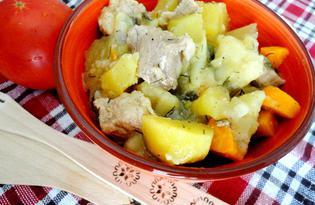 Картофель тушеный со свининой и овощами (пошаговый фото рецепт)