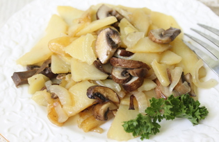 Жареный картофель с королевскими шампиньонами (пошаговый фото рецепт)