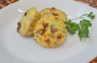 Кексы с сыром, ветчиной и зеленью (пошаговый фото рецепт)