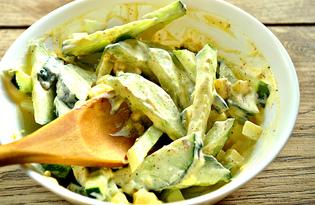 Огуречный салат с яйцом (пошаговый фото рецепт)