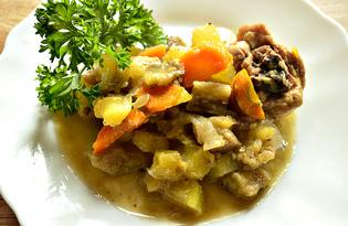 Овощное рагу с куриными кусочками (пошаговый фото рецепт)