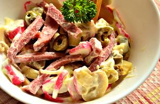 Быстрый салат с салями и оливками (пошаговый фото рецепт)