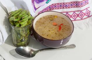 Суп с эдамаме (молодой соей) (пошаговый фото рецепт)