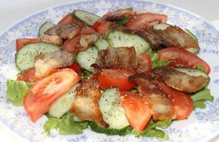 Салат овощной с беконом (пошаговый фото рецепт)