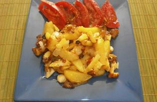Жареный картофель с домашним зельцем и брынзой (пошаговый фото рецепт)