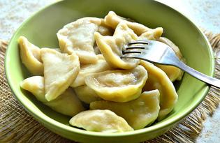 Вареники с отварным картофелем и маринованными грибами (пошаговый фото рецепт)