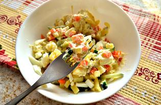 Огуречный салат с отварными овощами (пошаговый фото рецепт)