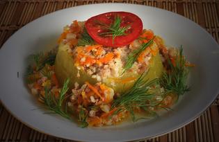 Колодцы из кабачка с фаршем индейки (пошаговый фото рецепт)