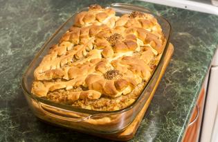 Дрожжевой пирог с начинкой из картофельного пюре и фарша (пошаговый фото рецепт)