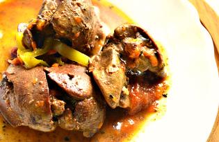 Куриная печень тушеная с овощами (пошаговый фото рецепт)
