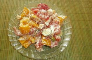 Салат с брынзой и огурцом «Дольче Вита» (пошаговый фото рецепт)