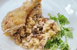 Окорочок с грибами и луком в сметане (пошаговый фото рецепт)