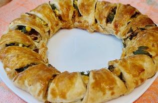 """Пирог с колбасой, яйцами и сыром """"Венок"""" (пошаговый фото рецепт)"""