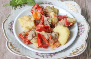 Печень тушеная с картофелем и перцем в мультиварке Delfa (пошаговый фото рецепт)