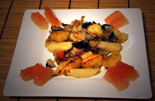Картофель жареный со свининой и баклажанами (пошаговый фото рецепт)