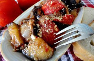 Баклажан с помидорами и грецкими орехами (пошаговый фото рецепт)