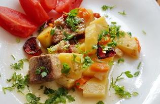 Картофель с мясом и овощами, запеченный в духовке (пошаговый фото рецепт)