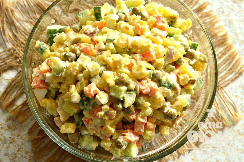 Салат с курой и горошком