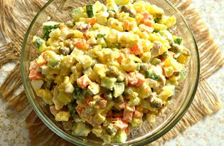Салат с курицей, зеленым горошком и овощами (пошаговый фото рецепт)