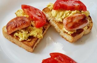 Тосты с яйцом и сосисками (пошаговый фото рецепт)