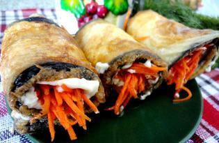 Баклажанные рулетики с морковкой по-корейски (пошаговый фото рецепт)