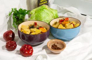 Тушеный картофель с шампиньонами (пошаговый фото рецепт)