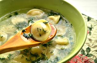 Суповые пельмени с куриным бульоном (пошаговый фото рецепт)