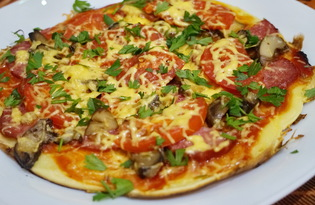 Пицца на сковороде за 15 минут (пошаговый фото рецепт)