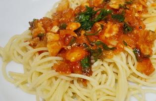 Спагетти с курицей в томатном соусе (пошаговый фото рецепт)