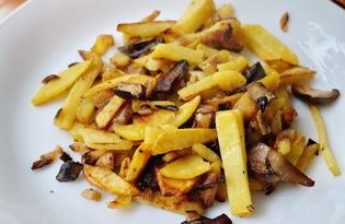 Жареный картофель с грибами (пошаговый фото рецепт)