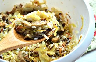 Начинка для пирогов из капусты, риса и грибов (пошаговый фото рецепт)