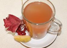 Калиново - айвовый компот (пошаговый фото рецепт)