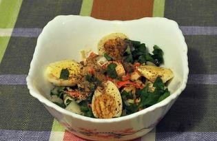 Салат из овощей и крабов с перепелиными яйцами (пошаговый фото рецепт)